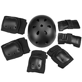 7 in 1 Kids/Adults Bike Helmet and Pads Set Helmet Knee Pads Elbow Pads Wrist Pads Sport Protective Gear Set for Cycling