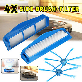 4Pcs Side Brush+Filter parts For Philips Robot Vacuum Cleaner FC8792FC8794FC8796