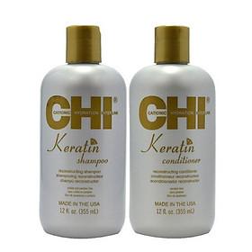 Bộ dầu gội xả CHI Keratin Reconstructing Mỹ 355ml - Phục hồi tóc hư tổn