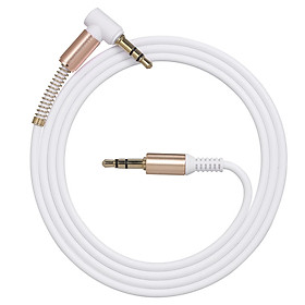 3.5mm Audio Cable Jack Male to Male 90 Degree Right Angle Stereo Car Phone Laptop Auxiliary Audio Extension Cable,White