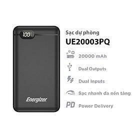 Sạc dự phòng Energizer 20,000mAh/3.7V Li-Polymer - UE20003PQ tích hợp power Delivery - Hàng chính hãng