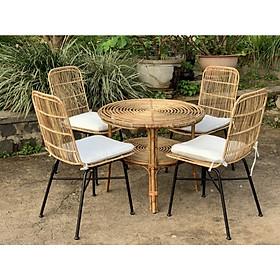 Bộ bàn ghế Mây đan chân sắt - kèm nệm