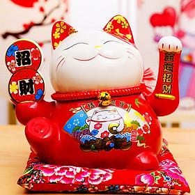 Mèo thần tài đỏ vẫy tay cầm tiền - 25cm