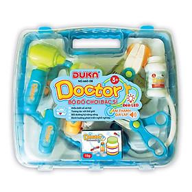 Bộ đồ chơi bác sĩ - Màu xanh có đèn báo (Quai xách vuông) 660-08