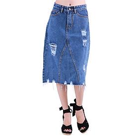 Chân Váy Jean Nữ Rách Dài Qua Gối CV004 Miha Fashion - Xanh