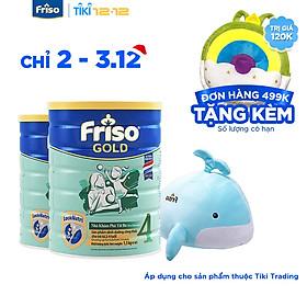 Bộ 2 Lon Sữa Bột Friso Gold 4 Cho Trẻ Từ 2-4 Tuổi 1.5kg + Tặng Bộ Mền Gối Cá Voi