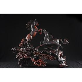 Tượng gỗ mỹ nghệ- Song tuấn bôn mã- gỗ trắc đỏ đen