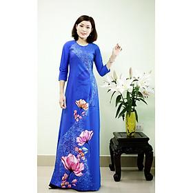 Áo Dài Truyền Thống Mẫu Hoa Nước chất liệu vải lụa nhật cao cấp, phom dáng chuẩn