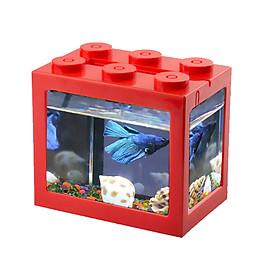 USB Mini Fish Tank Desktop LED Fish Tank Mini Aquarium Fish Tank Aquarium Kit Building Blocks Superimposed Fish Tank