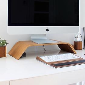 Kệ màn hình máy tính, Kệ Imac, Bàn kê màn hình, Kệ kê màn hình gỗ uốn cong Mipu Imac Stand - Veneer Sồi tự nhiên