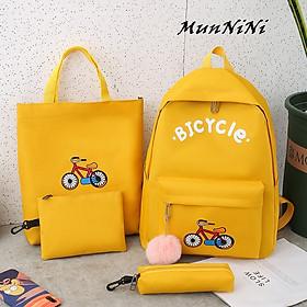 Balo nữ combo 4 món đi học thời trang sinh viên học sinh ba lô set cặp thời trang xe đạp- Munnini