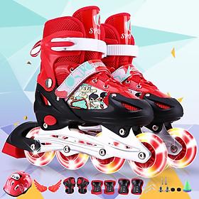Giày patin thể thao trẻ em - màu đỏ