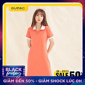 Đầm váy nữ  DA1008 GUMAC thiết kế  polo nẹp xẻ V