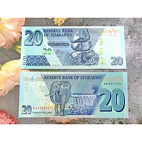 Tiền 20 Dollar Zimbabwe hình con voi lớn , tiền quốc gia châu Phi , mới 100% UNC, tặng túi nilon bảo quản