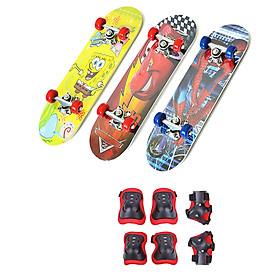 Combo Ván Trượt Skateboard Trẻ Em Nhiều Họa Tiết + Bộ Bảo Hộ Tay Chân (Giao Màu Ngẫu Nhiên)