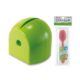 Combo Đồ dùng phòng ăn: Bộ 4 thìa nhựa màu sắc kèm hộp + Hộp đựng giấy tròn (màu xanh) - Nội địa Nhật Bản