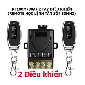 [HAI ĐIỀU KHIỂN] Bộ công tắc điều khiển từ xa RF 100m/ 3000W/ 220V Hai Remote điều khiển thiết bị máy bơm nước máy rửa xe công suất lớn