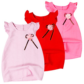 Đầm kate trơn đính nơ và hoa cánh tiên cho bé gái từ 1 đến 12 tuổi từ 8 đến 34 kg 06890-06895