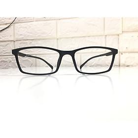 Gọng kính cận nhựa dẻo nam/nữ, dáng vuông đơn giản, hiện đại-98631-C10-đen nhám