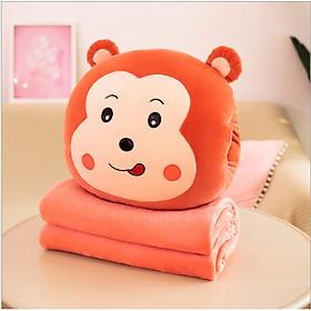 GỐI MỀN 3 in 1 hình thú cute Khỉ Ếch Thỏ Sư tử, thun 4 chiều siêu mịn, bộ chăn gối văn phòng  tặng gương mini