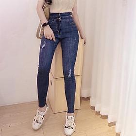 Quần jean nữ lưng cao Julido, chất jean cotton co dãn tôn dáng phụ nữ eo thon mẫu TTH01