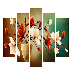 Bộ 5 - Tranh treo tường - Trang trí phòng khách/Bình hoa 3D/Gỗ MDF Hàn Quốc/Chống ẩm mốc, mối mọt T3M-32421