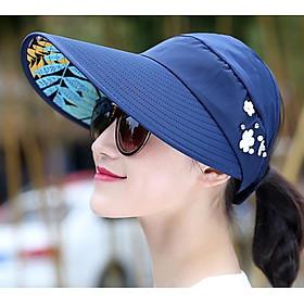 Mũ rộng vành đính hoa thời trang, nón rộng vành chống nắng chống uv nữ