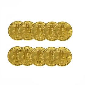 Bộ 10 đồng bitcoin hợp kim mạ vàng 24k ( Quà tặng tết)