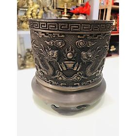 Bát hương thờ cúng bằng đồng hun nâu đường kính 16cm