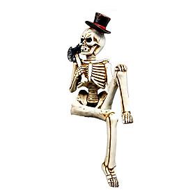 Halloween Skeleton Body with Battleax Prop Novelty Toys Skull Hand Life Body Anatomy Model Haunted House Decor