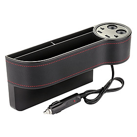 Car Seat Organizer Seat Side Pocket Organizer Gap Storage Box Seat Gap Filler Catcher with 2 USB Chargers and 2 Lighters