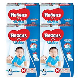 Combo 4 Gói Tã Dán Huggies Dry Gói Đại M48 (48 Miếng) - Bao Bì Mới