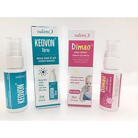 Combo tăng chiều cao 1 Dimao (Vitamin D3 400IU dạng xịt) + 1 Keovon (Vitamin K2 – MK7 dạng xịt)