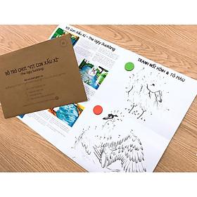 Đồ chơi giáo dục ĐƯỜNG ĐUA TRÍ TUỆ 3 IN 1 VỊT CON XẤU XÍ - Truyện tranh song ngữ - Nối số tô màu cho trẻ 2+