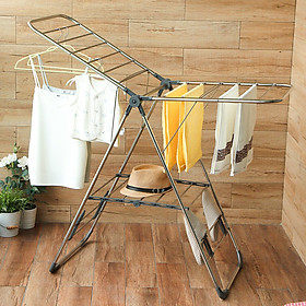 Ou Runzhe drying rack stainless steel airfoil landing folding multi-purpose drying rack indoor and outdoor balcony clothes rod modified gray