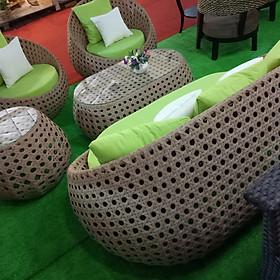 Bộ sofa ngoài trời đan kiểu mắt cáo