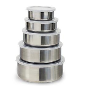 Bộ Thố Inox 5 cái - Hộp Đựng Thực phẩm 10,12,14,16,18M ( AN TOÀN - TIỆN DỤNG)