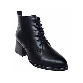 Giày Boot Nữ Da PU Gót Vuông T45 - Đen