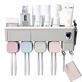 Hộp đựng bàn chải kem đánh răng nhà tắm tặng kèm 4 cốc-Kệ để đồ vệ sinh răng miệng dán tường