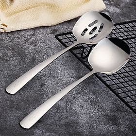 US kitchen (maxcook) 304 stainless steel spoon increases rice spoon vegetable spoon colander lengthened thickened meal-separating spoon two-piece set MCCU073