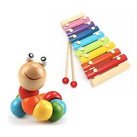 Combo sâu gỗ và đàn gỗ 8 thanh SM - đồ chơi gõ cho bé, đồ chơi phát triển trí tuệ