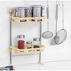 Kệ nhựa hít chân không 2 tầng gắn trên bếp, trên nắp bồn cầu tiết kiệm không gian GD224-Ke2Tang-Nho
