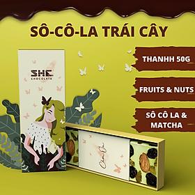 Socola MatCha Trái Cây Thanh 50g SHE Chocolate - Cung cấp năng lượng, dinh dưỡng dành cho mọi lựa tuổi