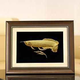 Tranh cá rồng phong thủy mạ vàng