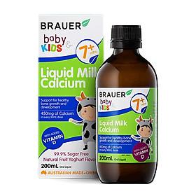 Canxi sữa và Vitamin D Brauer Baby & Kids Liquid Milk Calcium cho bé từ 7 tháng tuổi (200ml)