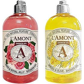 Combo Sữa Tắm L'amont En Provence Rose Shower Gel + Mimosa Shower Gel (Hương hoa Mimosa) 500ml/chai