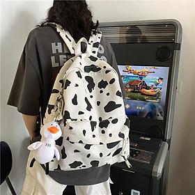 ( Tặng kèm gấu) Balo bò sữa hot trend, cặp sách đi hoc, balo đi phượt phong cách hàn quốc