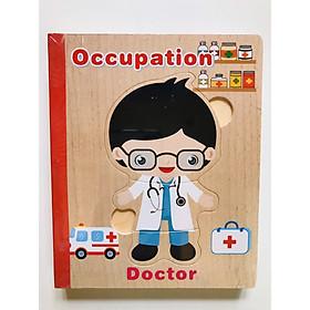 Sách gỗ ghép hình - Combo 2 cuốn sách gỗ ghép hình mã 02