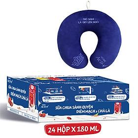 Thùng 24 Hộp Sữa Chua Nestlé Acti-V Diêm Mạch Đỏ và Chà Là (180ml/Hộp) - Tặng gối cổ cao cấp Acti-V