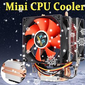 80mm Mini CPU Cooler 2 Heatpipe 2 Ventilateur Radiateur Pr LGA 775/1155/1156 AMD